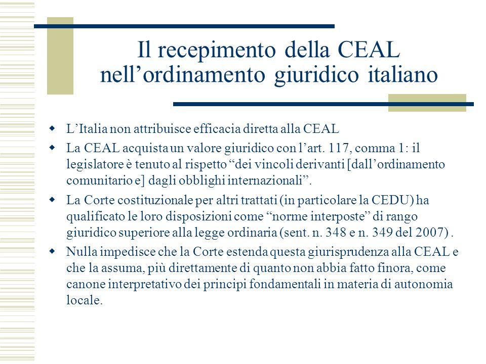 Il recepimento della CEAL nell'ordinamento giuridico italiano