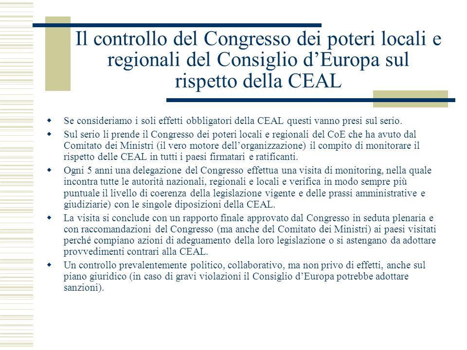 Il controllo del Congresso dei poteri locali e regionali del Consiglio d'Europa sul rispetto della CEAL