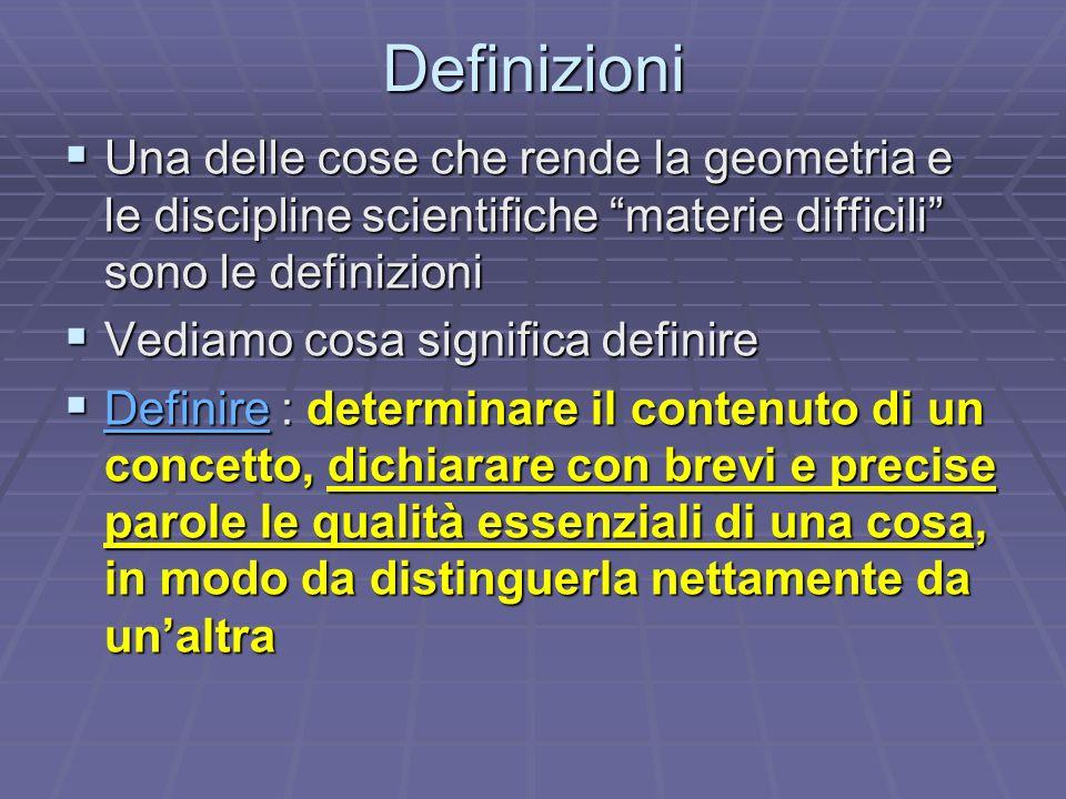 Definizioni Una delle cose che rende la geometria e le discipline scientifiche materie difficili sono le definizioni.