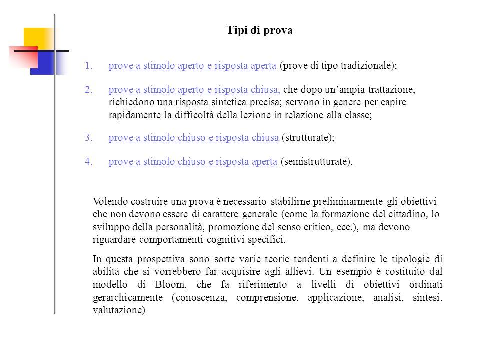 Tipi di prova prove a stimolo aperto e risposta aperta (prove di tipo tradizionale);