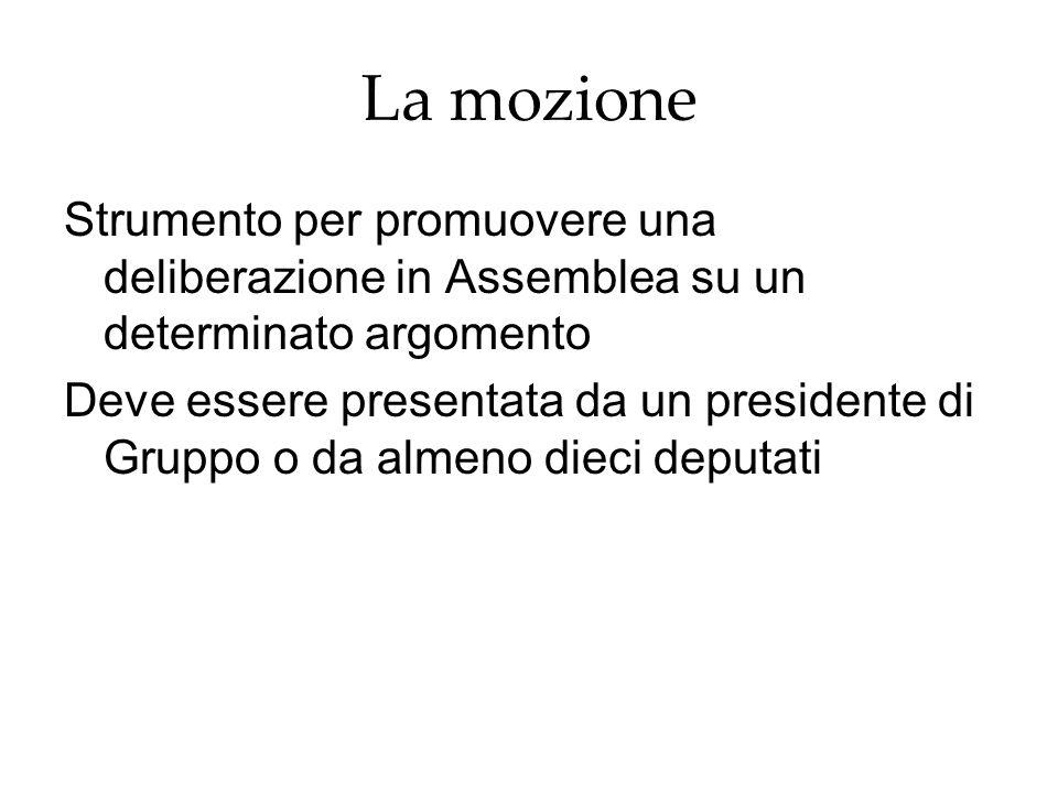 La mozioneStrumento per promuovere una deliberazione in Assemblea su un determinato argomento.
