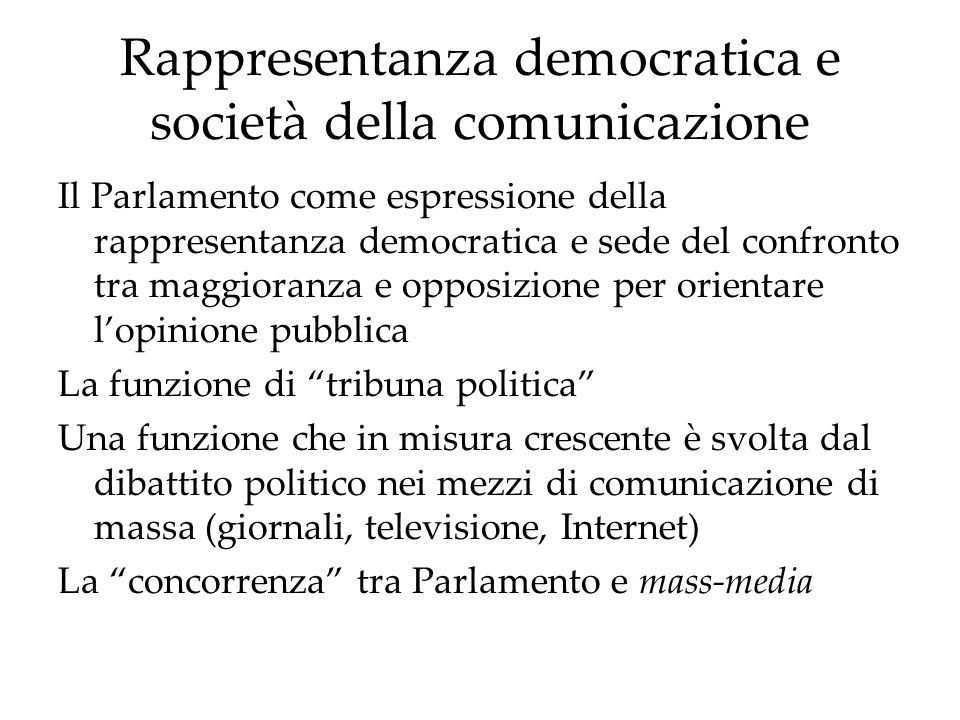 Rappresentanza democratica e società della comunicazione
