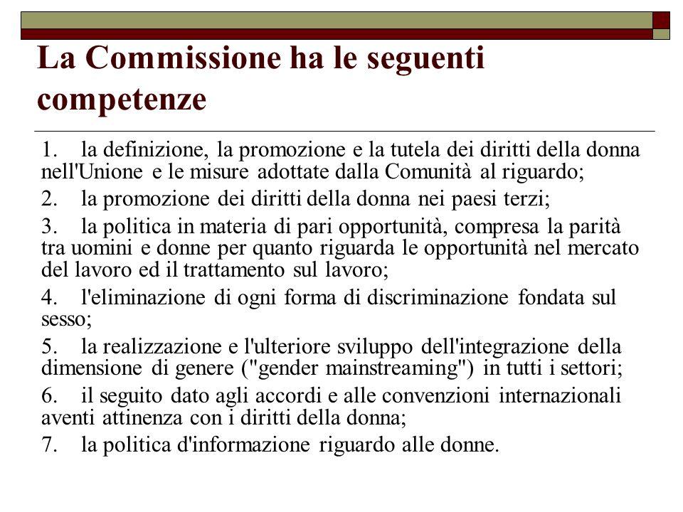 La Commissione ha le seguenti competenze