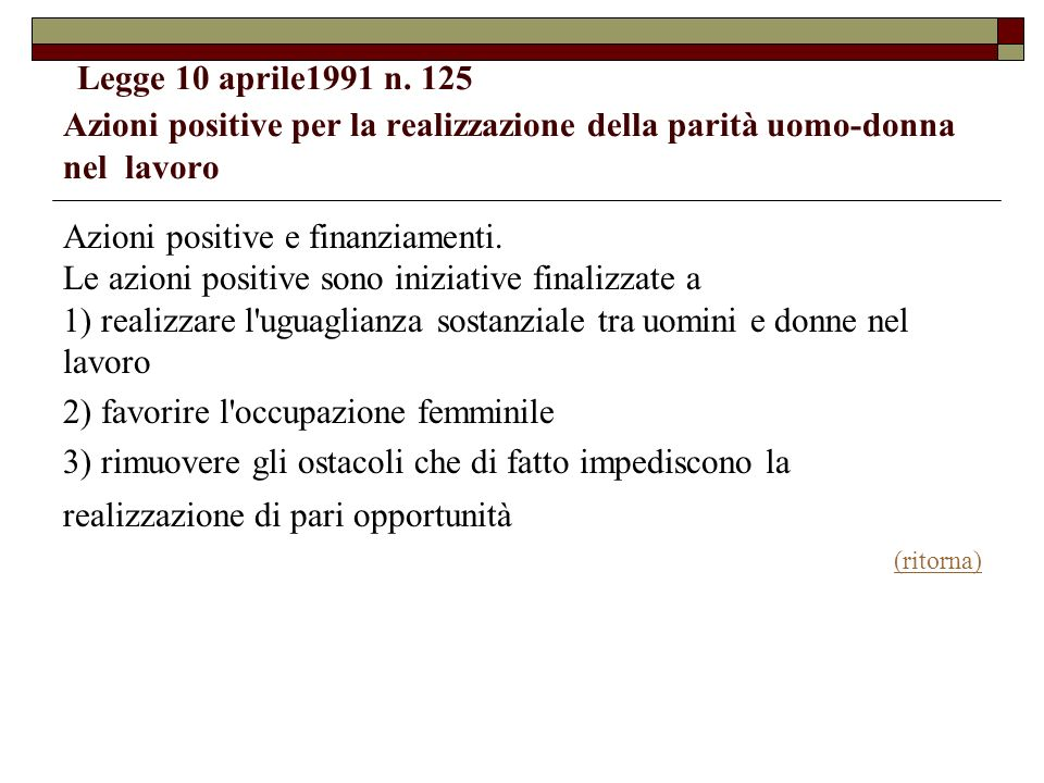 2) favorire l occupazione femminile