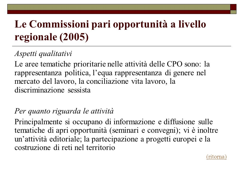 Le Commissioni pari opportunità a livello regionale (2005)