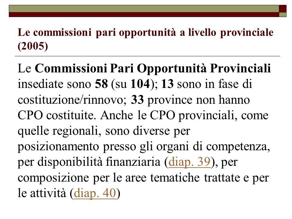 Le commissioni pari opportunità a livello provinciale (2005)