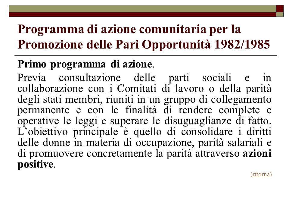 Programma di azione comunitaria per la Promozione delle Pari Opportunità 1982/1985