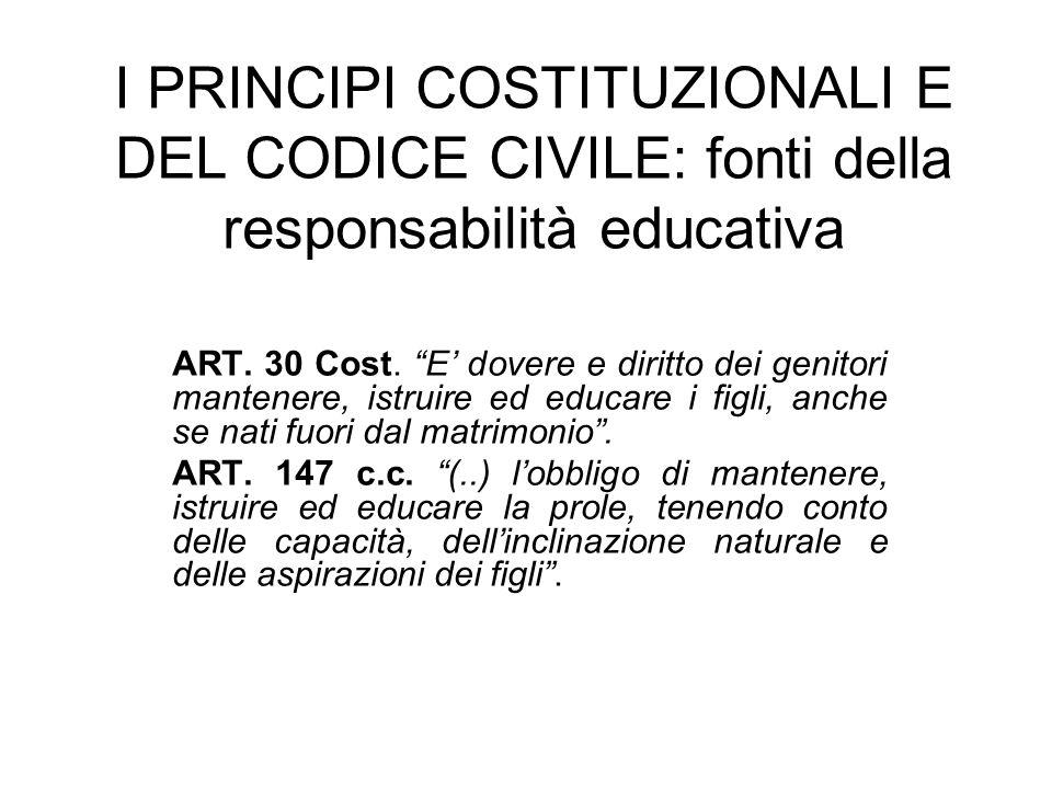 I PRINCIPI COSTITUZIONALI E DEL CODICE CIVILE: fonti della responsabilità educativa