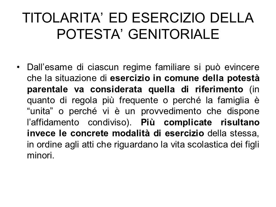 TITOLARITA' ED ESERCIZIO DELLA POTESTA' GENITORIALE