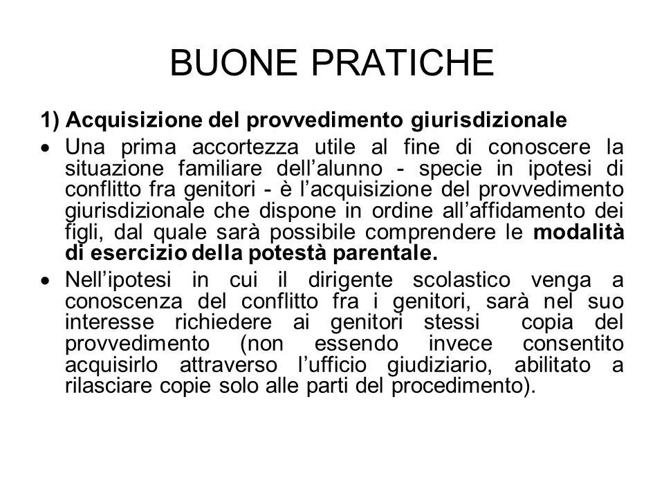 BUONE PRATICHE 1) Acquisizione del provvedimento giurisdizionale