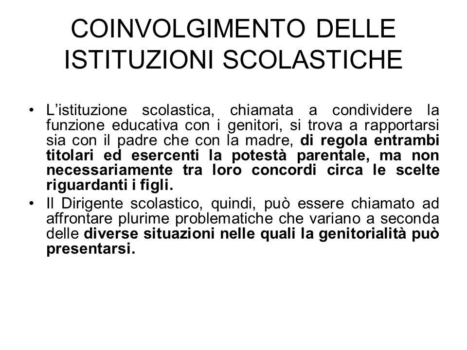 COINVOLGIMENTO DELLE ISTITUZIONI SCOLASTICHE