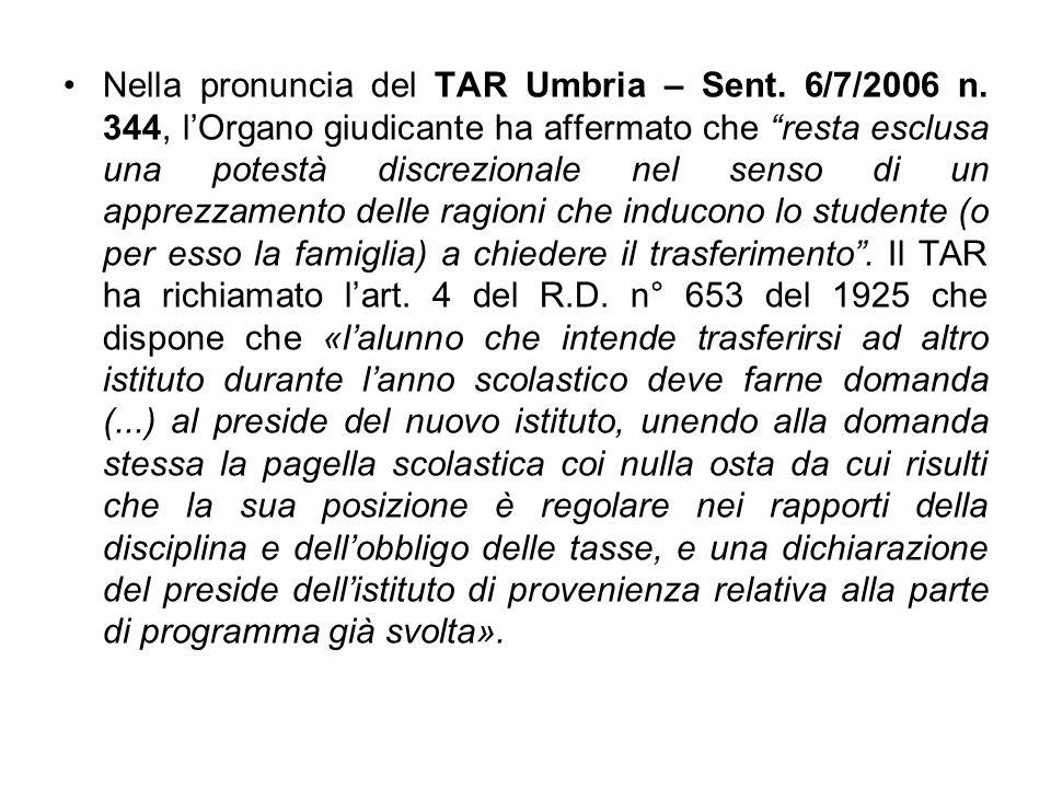 Nella pronuncia del TAR Umbria – Sent. 6/7/2006 n