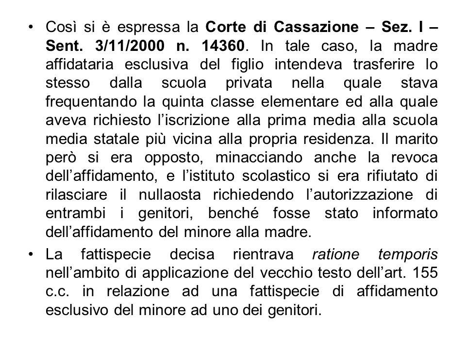 Così si è espressa la Corte di Cassazione – Sez. I – Sent. 3/11/2000 n