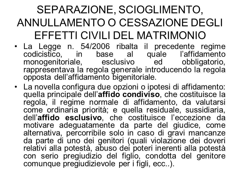 SEPARAZIONE, SCIOGLIMENTO, ANNULLAMENTO O CESSAZIONE DEGLI EFFETTI CIVILI DEL MATRIMONIO