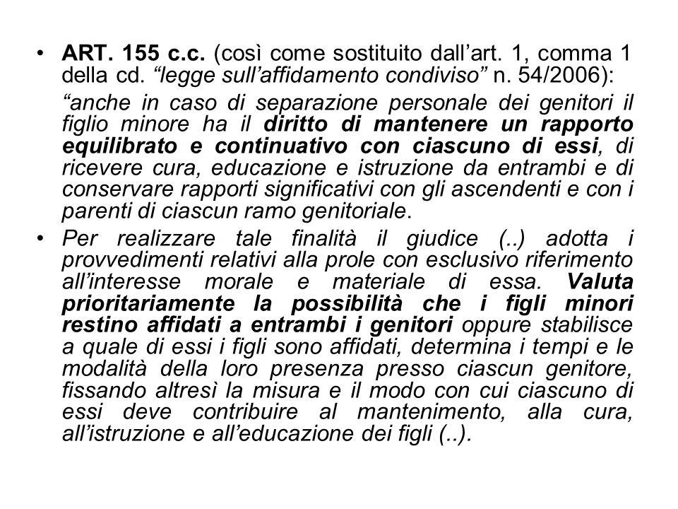 ART. 155 c. c. (così come sostituito dall'art. 1, comma 1 della cd
