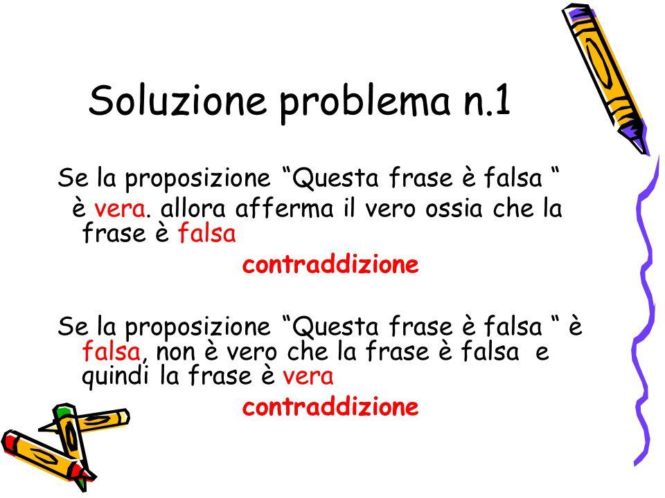 Soluzione problema n.1 Se la proposizione Questa frase è falsa