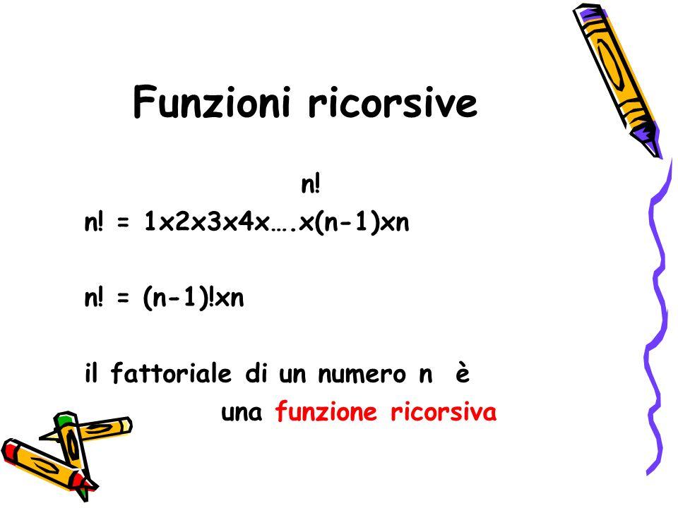 Funzioni ricorsive n! n! = 1x2x3x4x….x(n-1)xn n! = (n-1)!xn