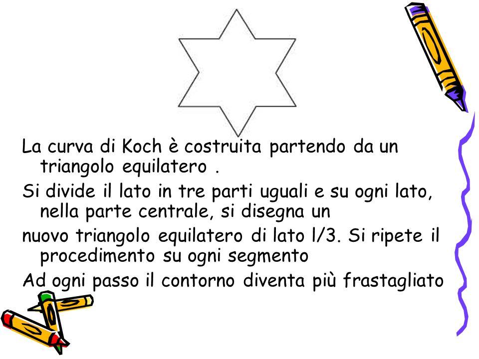 La curva di Koch è costruita partendo da un triangolo equilatero .
