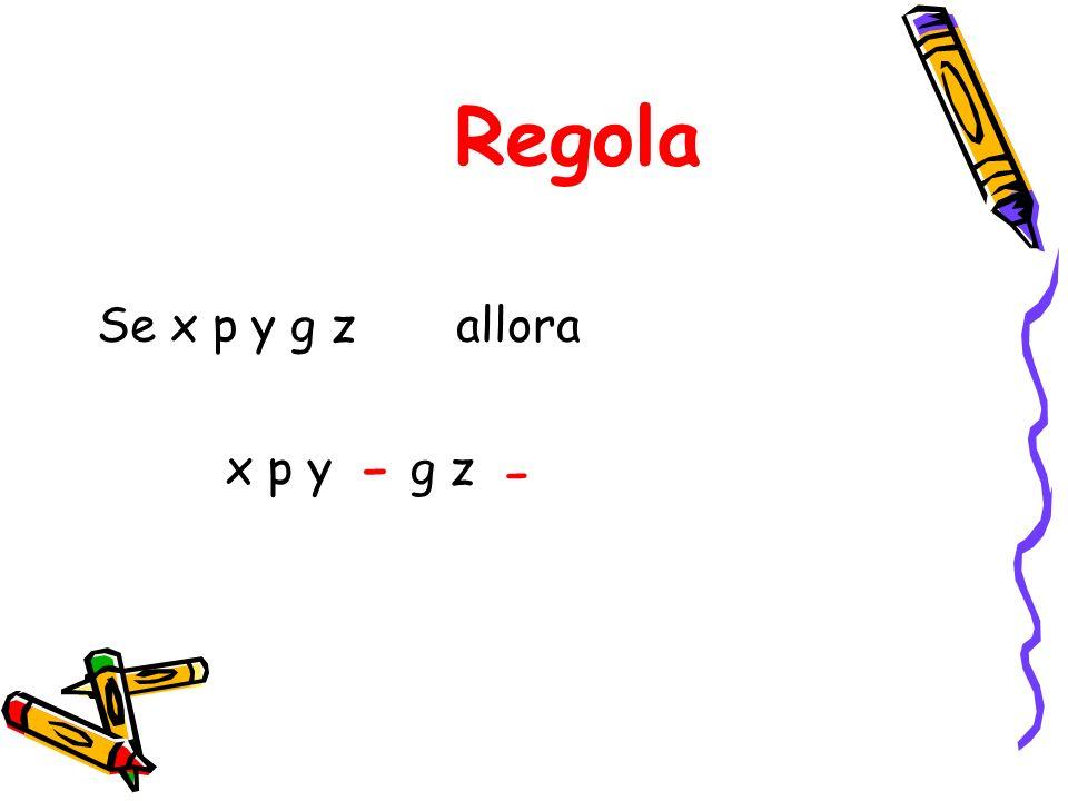 Regola Se x p y g z allora - - x p y g z