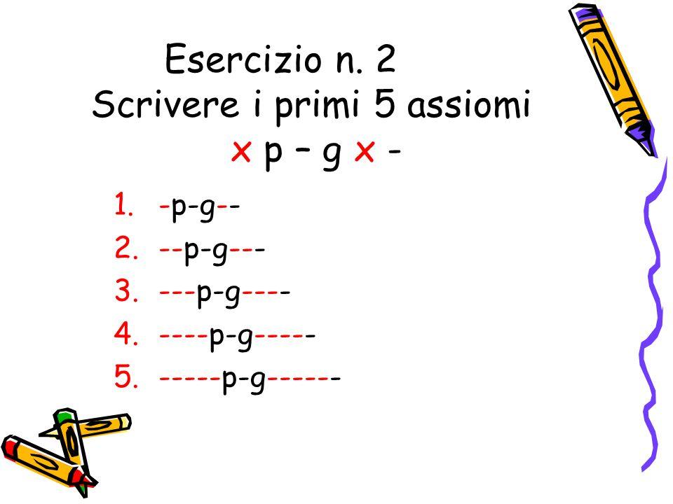 Esercizio n. 2 Scrivere i primi 5 assiomi x p – g x -
