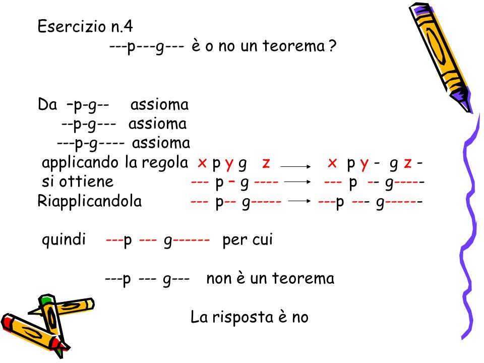 Esercizio n.4 ---p---g--- è o no un teorema Da –p-g-- assioma. --p-g--- assioma. ---p-g---- assioma.