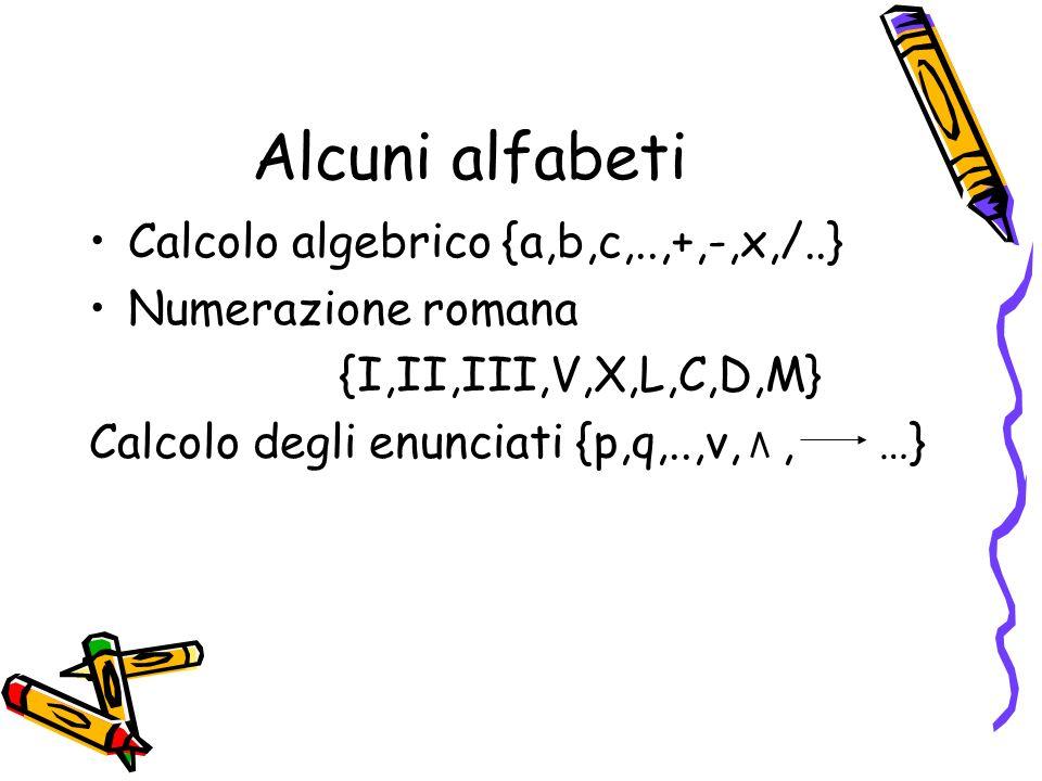 Alcuni alfabeti Calcolo algebrico {a,b,c,..,+,-,x,/..}