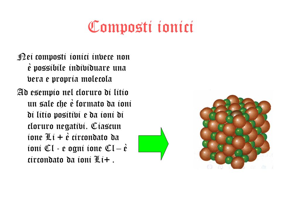 Composti ionici Nei composti ionici invece non è possibile individuare una vera e propria molecola.