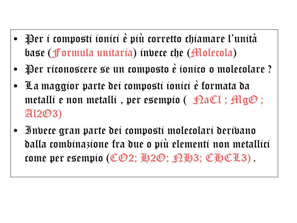 Per i composti ionici è più corretto chiamare l'unità base (Formula unitaria) invece che (Molecola)