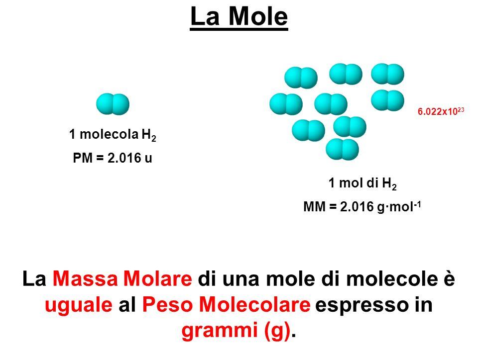 La Mole 1 molecola H2. PM = 2.016 u. 1 mol di H2. MM = 2.016 g∙mol-1. 6.022x1023.
