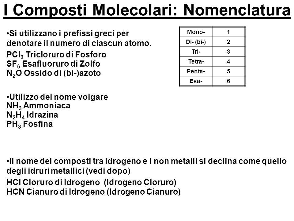 I Composti Molecolari: Nomenclatura