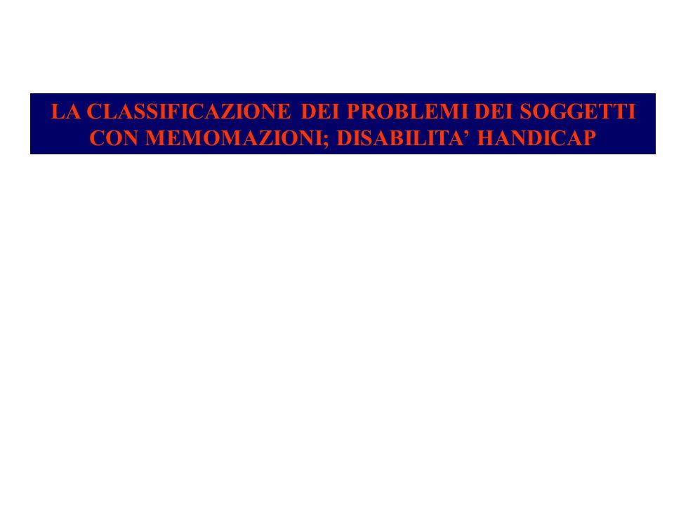 LA CLASSIFICAZIONE DEI PROBLEMI DEI SOGGETTI CON MEMOMAZIONI; DISABILITA' HANDICAP