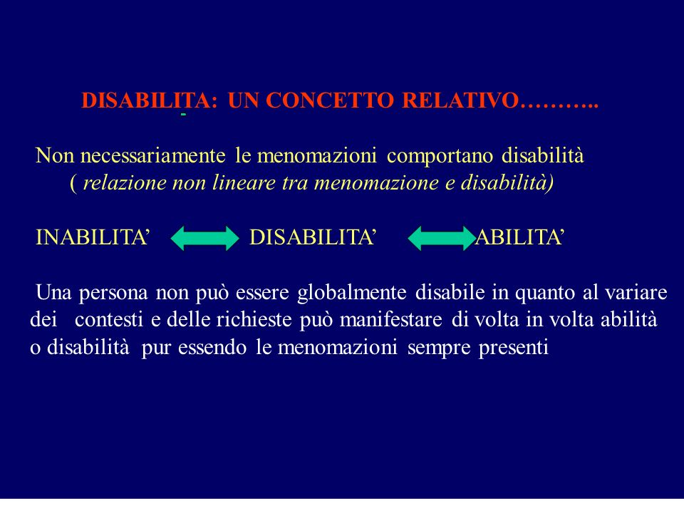 DISABILITA: UN CONCETTO RELATIVO………..