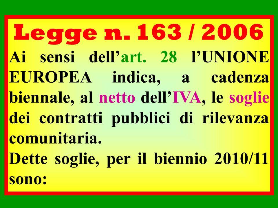 Legge n. 163 / 2006