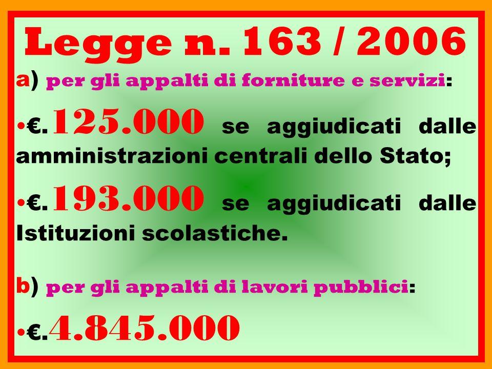 Legge n. 163 / 2006 a) per gli appalti di forniture e servizi: