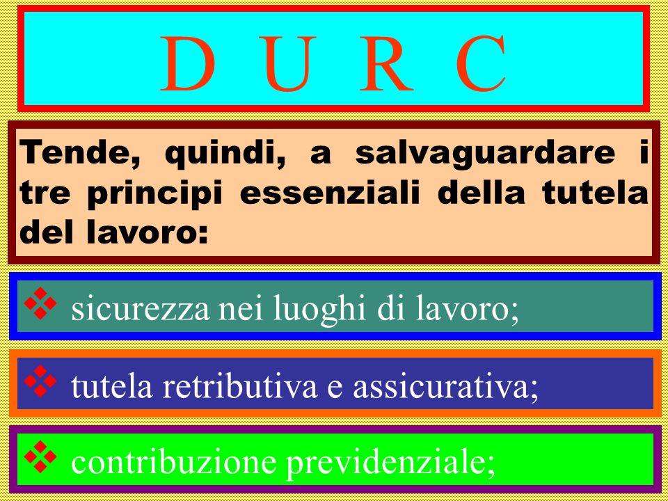 D U R C Tende, quindi, a salvaguardare i tre principi essenziali della tutela del lavoro: sicurezza nei luoghi di lavoro;