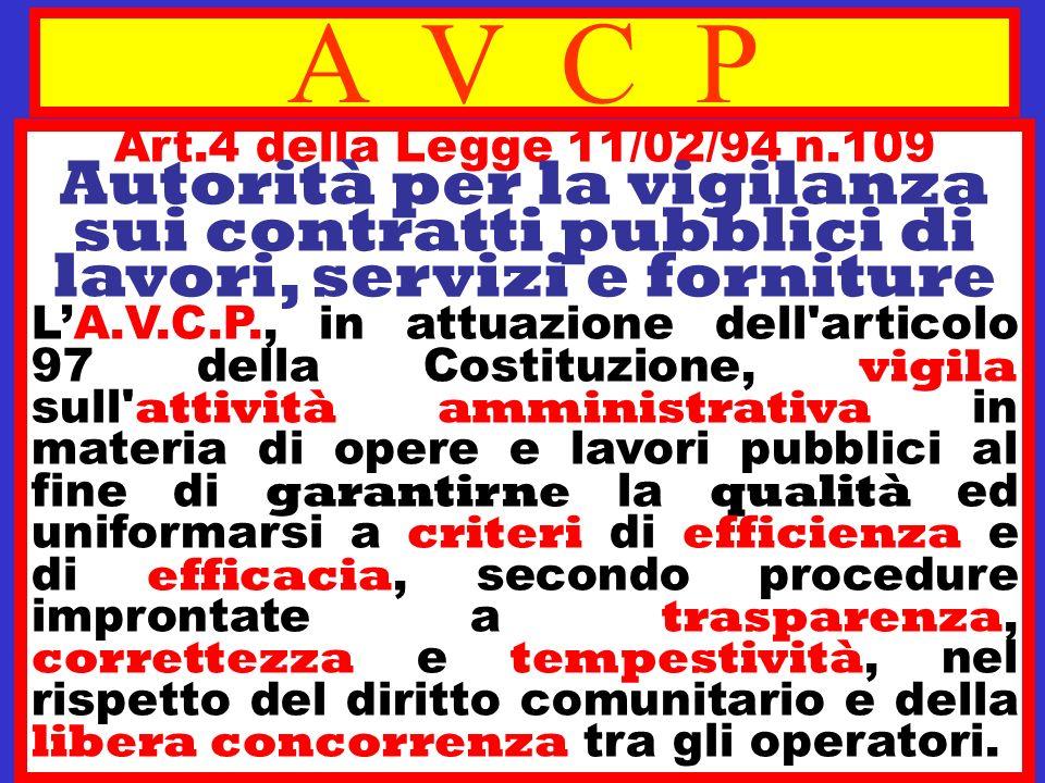 A V C P Art.4 della Legge 11/02/94 n.109 Autorità per la vigilanza sui contratti pubblici di lavori, servizi e forniture.