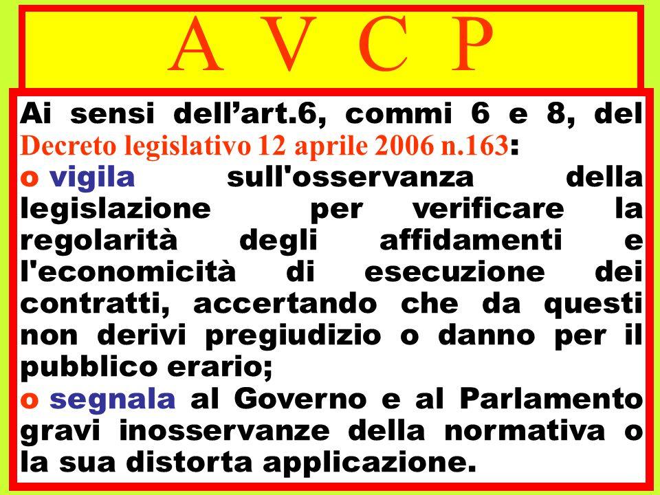 A V C P Ai sensi dell'art.6, commi 6 e 8, del Decreto legislativo 12 aprile 2006 n.163: