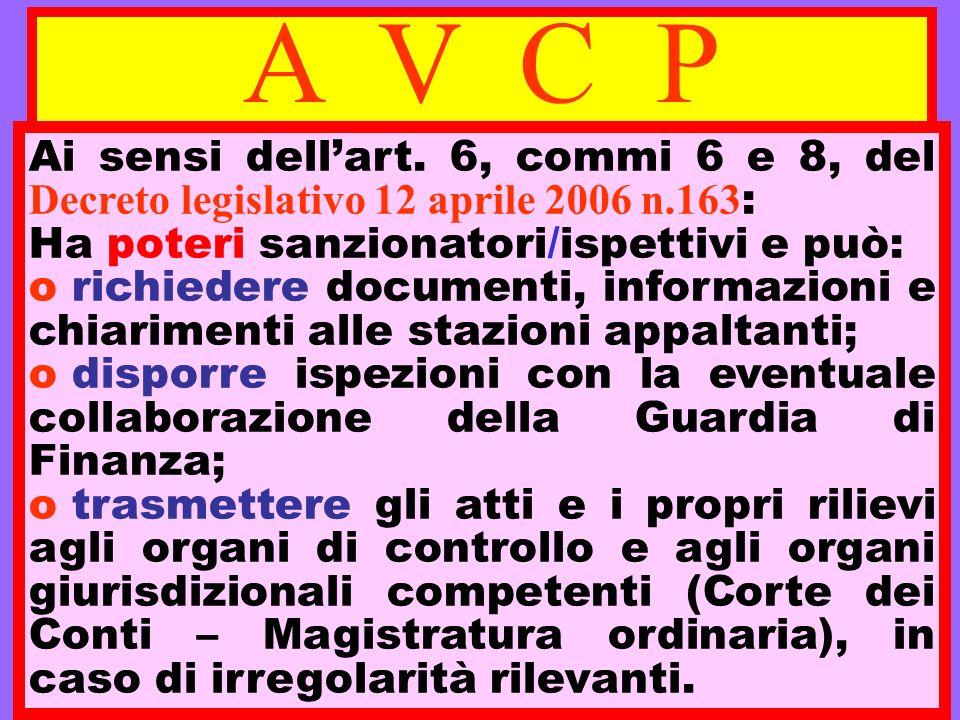 A V C P Ai sensi dell'art. 6, commi 6 e 8, del Decreto legislativo 12 aprile 2006 n.163: Ha poteri sanzionatori/ispettivi e può: