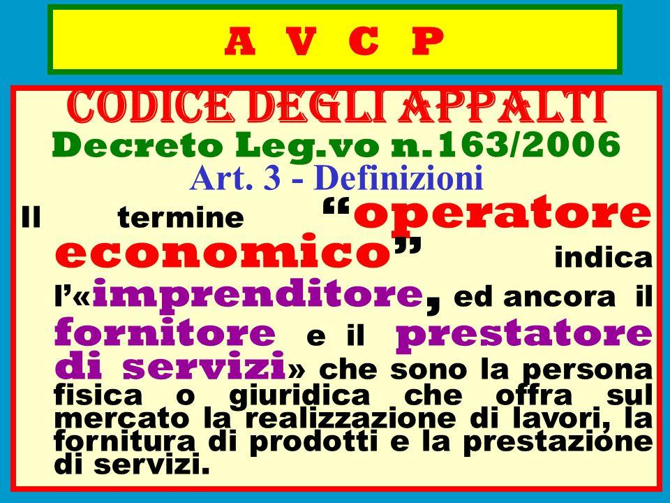 CODICE deGLI APPALTI A V C P Decreto Leg.vo n.163/2006
