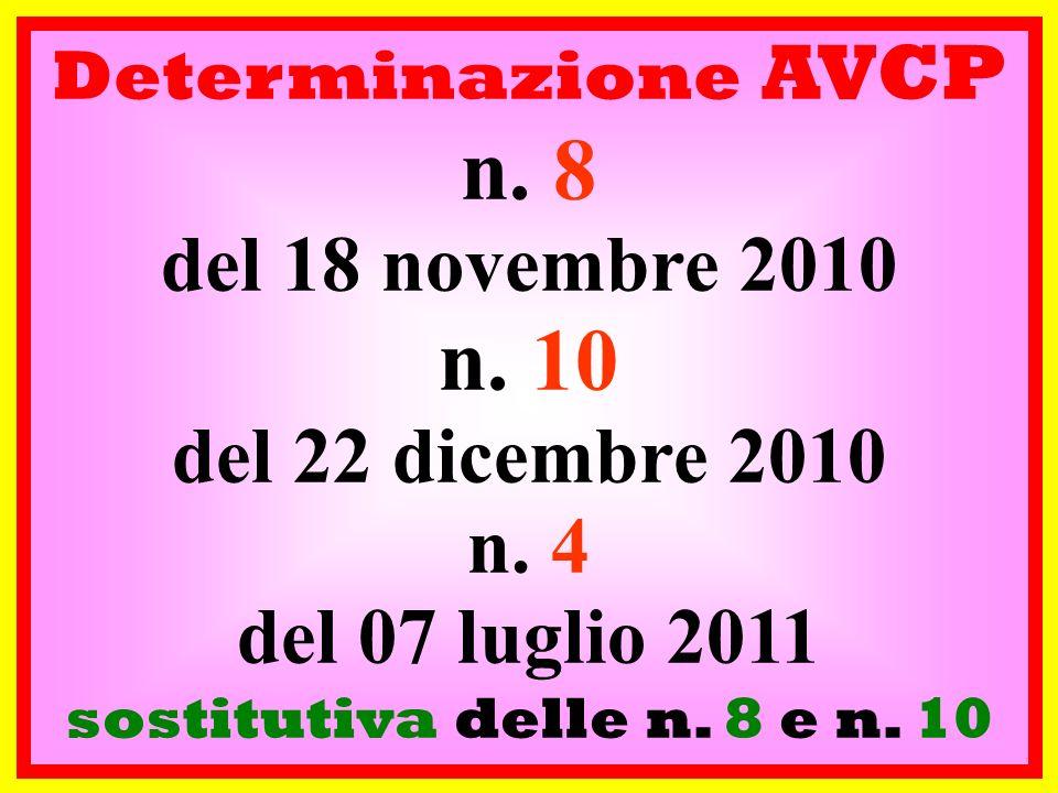 n. 8 n. 10 del 18 novembre 2010 del 22 dicembre 2010 n. 4