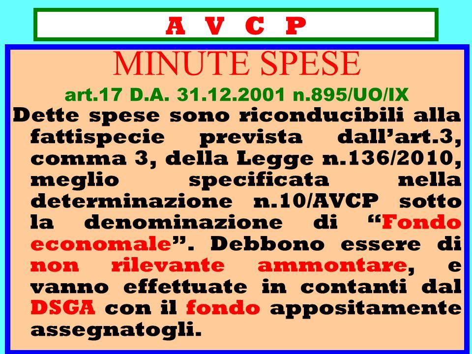 A V C P MINUTE SPESE. art.17 D.A. 31.12.2001 n.895/UO/IX.