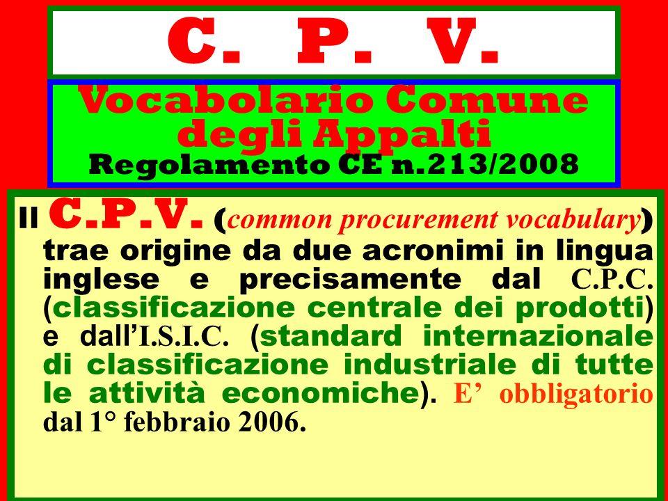 Vocabolario Comune degli Appalti Regolamento CE n.213/2008