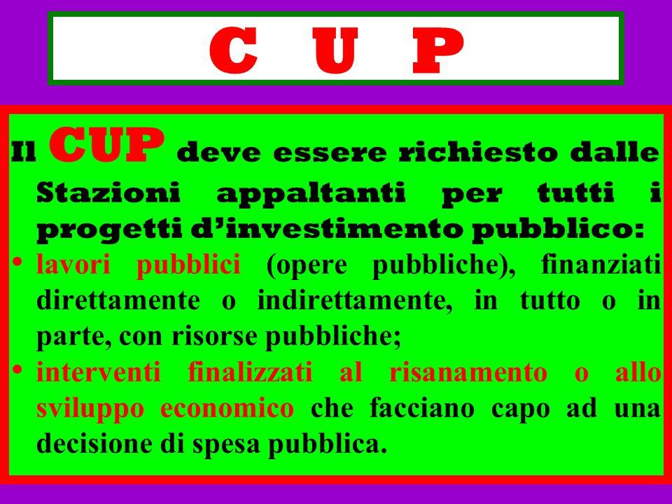 C U P Il CUP deve essere richiesto dalle Stazioni appaltanti per tutti i progetti d'investimento pubblico: