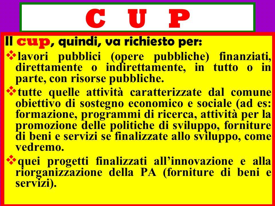 C U P Il cup, quindi, va richiesto per:
