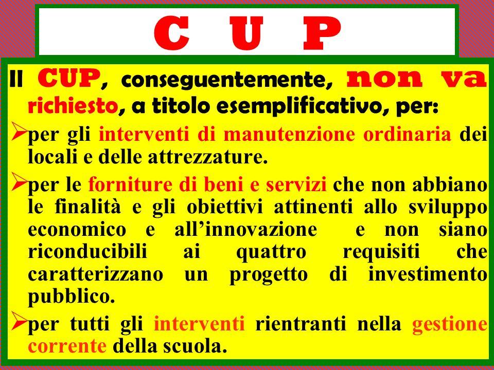 C U P Il CUP, conseguentemente, non va richiesto, a titolo esemplificativo, per: