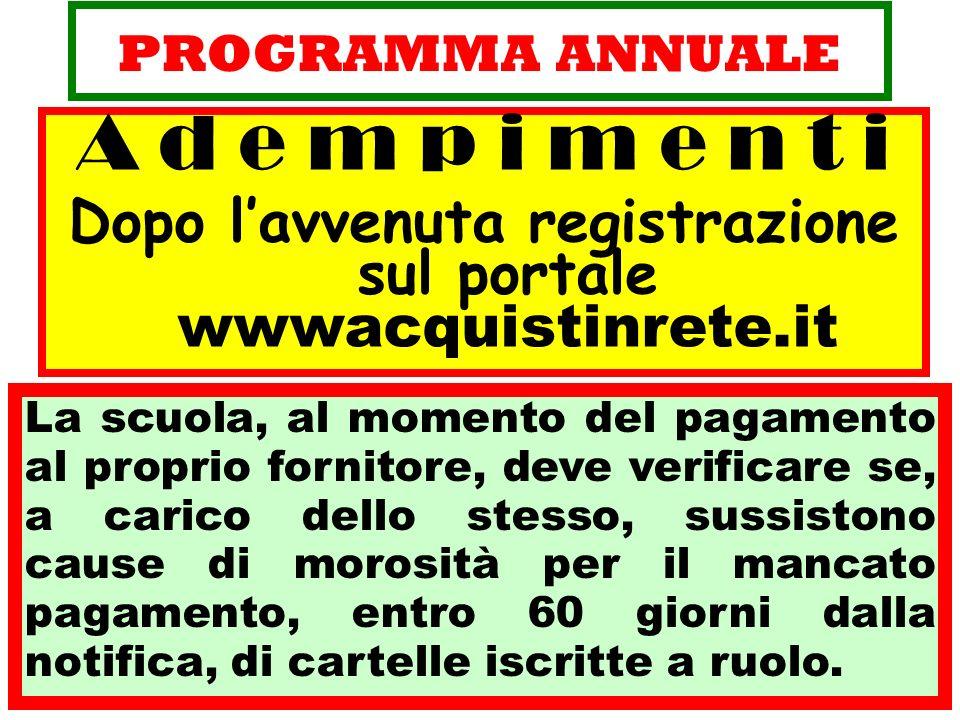 Dopo l'avvenuta registrazione sul portale wwwacquistinrete.it