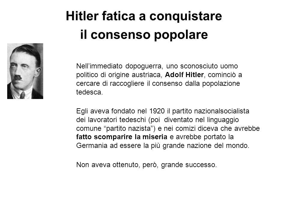 Hitler fatica a conquistare il consenso popolare