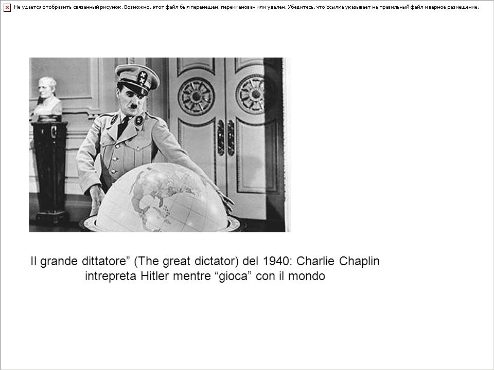 Il grande dittatore (The great dictator) del 1940: Charlie Chaplin intrepreta Hitler mentre gioca con il mondo