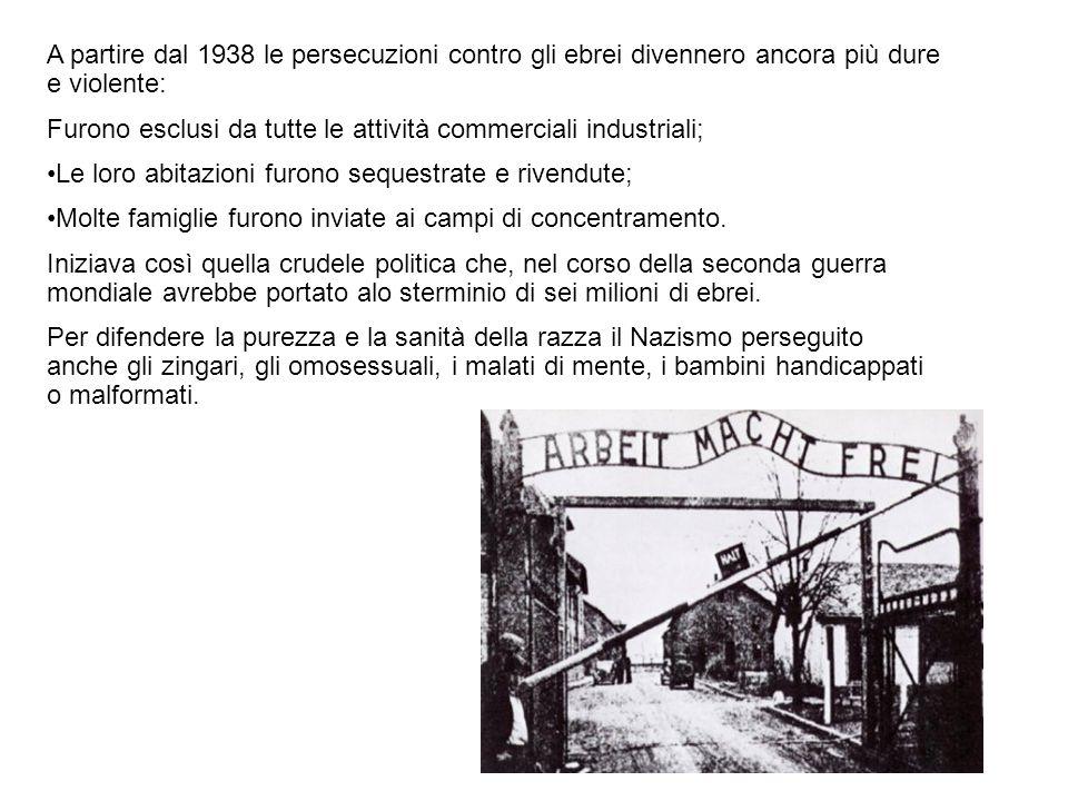 A partire dal 1938 le persecuzioni contro gli ebrei divennero ancora più dure e violente: