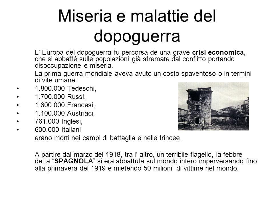 Miseria e malattie del dopoguerra